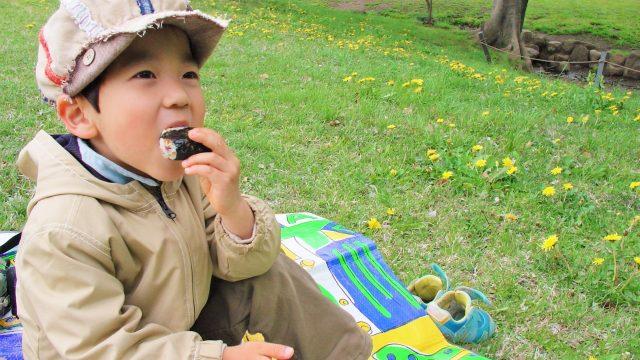 公園で弁当を食べる子ども